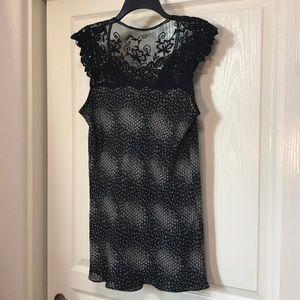 Dress Barn Tops - Black lace Shoulder Bias Top size L Dressbarn